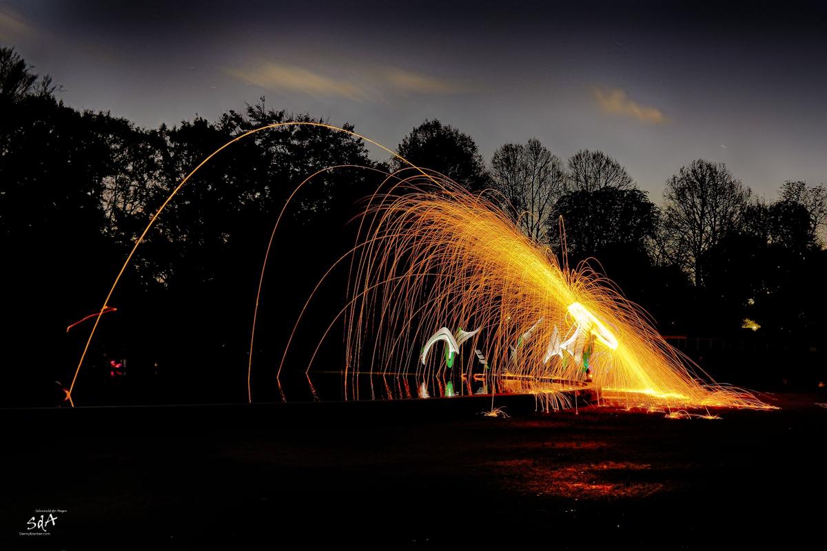 Lasst es wieder funken, ZOLAQ Steelwoolfun Oct 2010_8, Ring of fire, Stahlwolle drehen, Danny Koerber, Sehnsucht der Augen, Lichtkunst, SdA, ZOLAQ, Steelwool, Fire, night